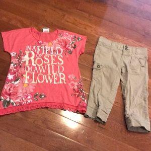 Girl's medium shirt and khaki Capri pants